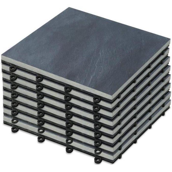 Lot de 8 dalles de terrasse clipsables en pierre noire - dimensions 30 x 30 cm
