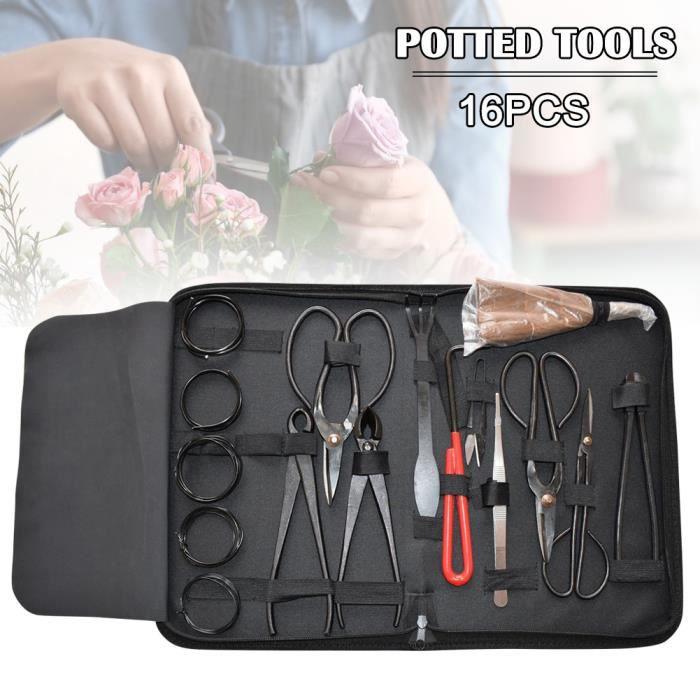 Ensemble d'outils de jardinage de bonsaïs 16pcs Kit ciseaux de coupe en acier au carbone avec étui en nylon