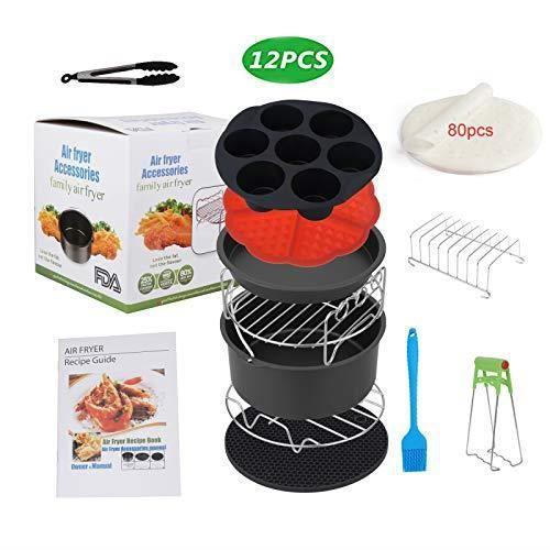 Sinbide Accessoires pour friteuse à air chaud Set d'accessoires pour friteuse universelle 12 pièces Airfryer 12 pièces avec t