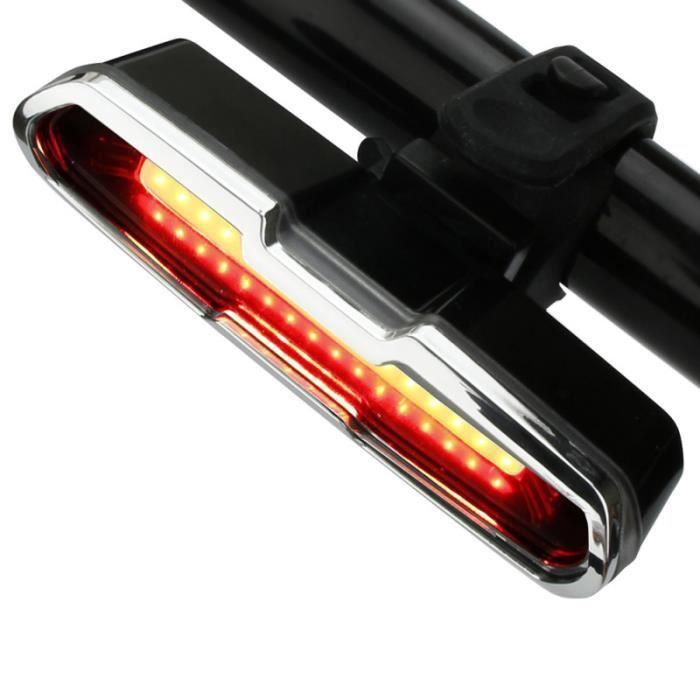 Lumière de lampe d'avertissement de queue de lumière de bicyclette de haute luminosité Rechargeable par USB ECLAIRAGE POUR CYCLE