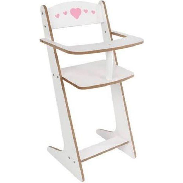 Doll fun Chaise de poupée Blanc et rose 53 cm