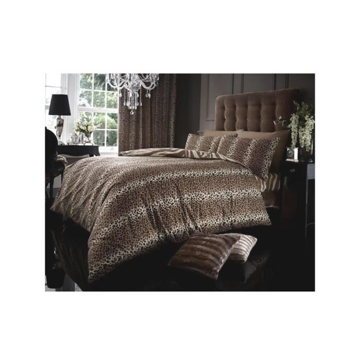 housse de couette 2 pers imprim l opard et tigre achat. Black Bedroom Furniture Sets. Home Design Ideas