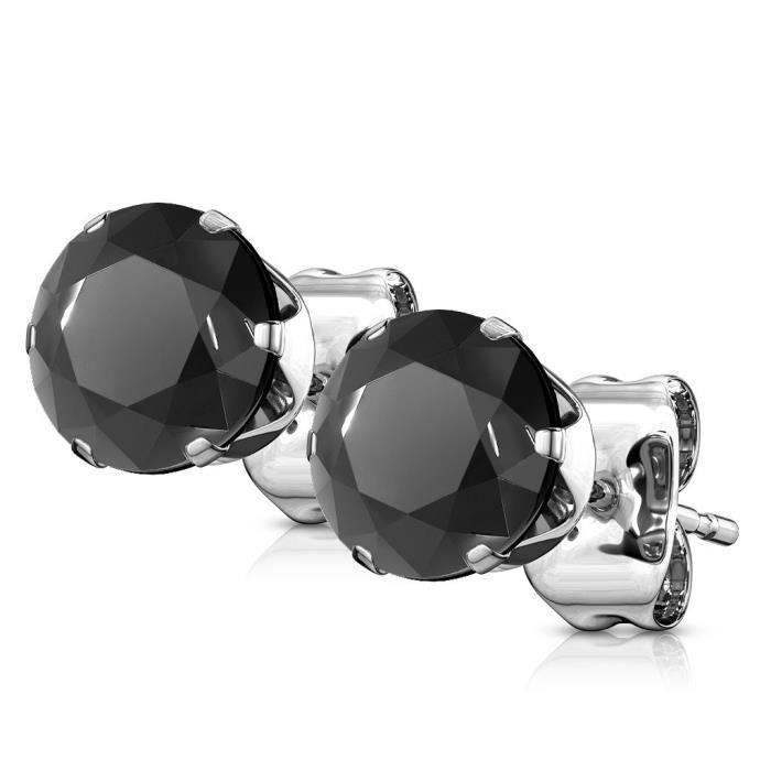 Boucles D/' Oreilles DIAM/'S Zirconium Noir en Argent Massif TAILLE au CHOIX
