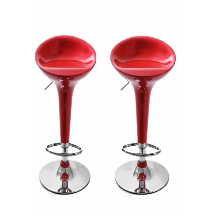 Lot de 2 tabourets de bar jazz rouge achat vente tabouret de bar rouge - Tabourets de bar rouge ...