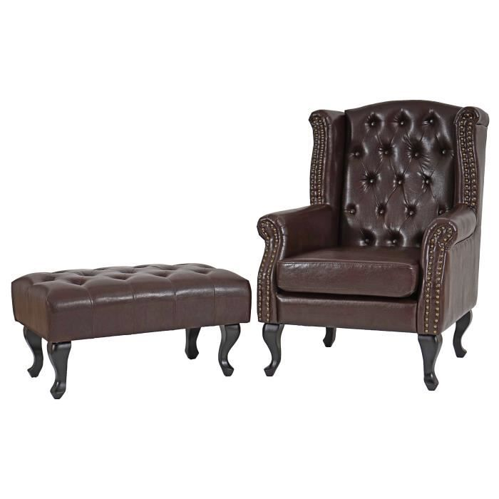 fauteuil de luxe oreilles chesterfield pu brun antique avec pouf achat vente fauteuil. Black Bedroom Furniture Sets. Home Design Ideas