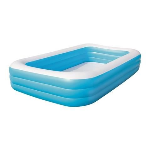Piscine autoportante rectangulaire deluxe bleue 305 x 183 x 56 cm achat vente piscine for Piscine auto portante
