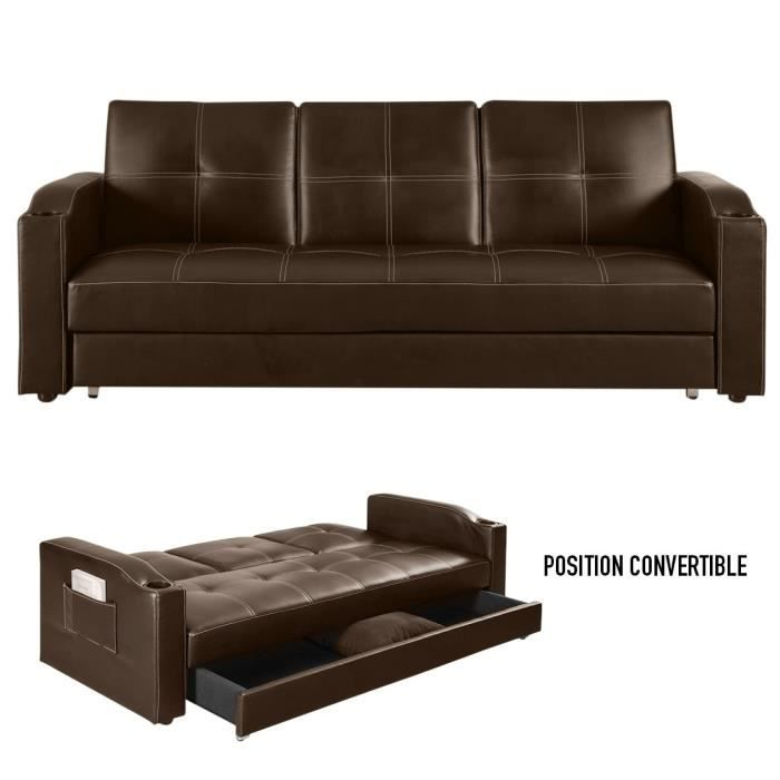 Canap convertible corabar marron chocolat 3 corabar for Achat canape convertible