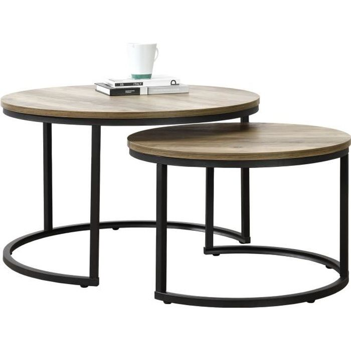 en.casa] Set de 2 Tables Basses Rondes Gigognes Table de ...