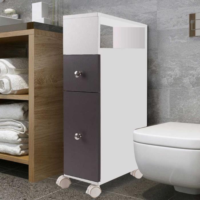 COLONNE - ARMOIRE WC Meuble rangement WC sur roulettes 2 tiroirs gris
