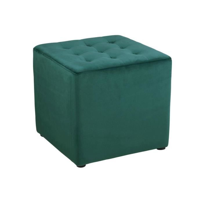 pouf carr en velours capitonn bryan vert achat vente pouf poire soldes d s le 27. Black Bedroom Furniture Sets. Home Design Ideas