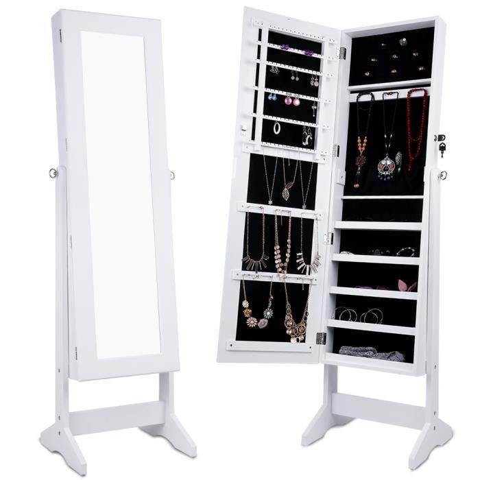 MIROIR SALLE DE BAIN LANGRIA Armoire à Bijoux avec Miroir Intégré-Blanc