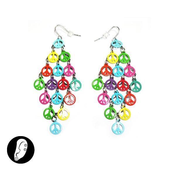 Boucles d 39 oreilles grappe peace and love color achat - Boucle d oreille peace and love ...