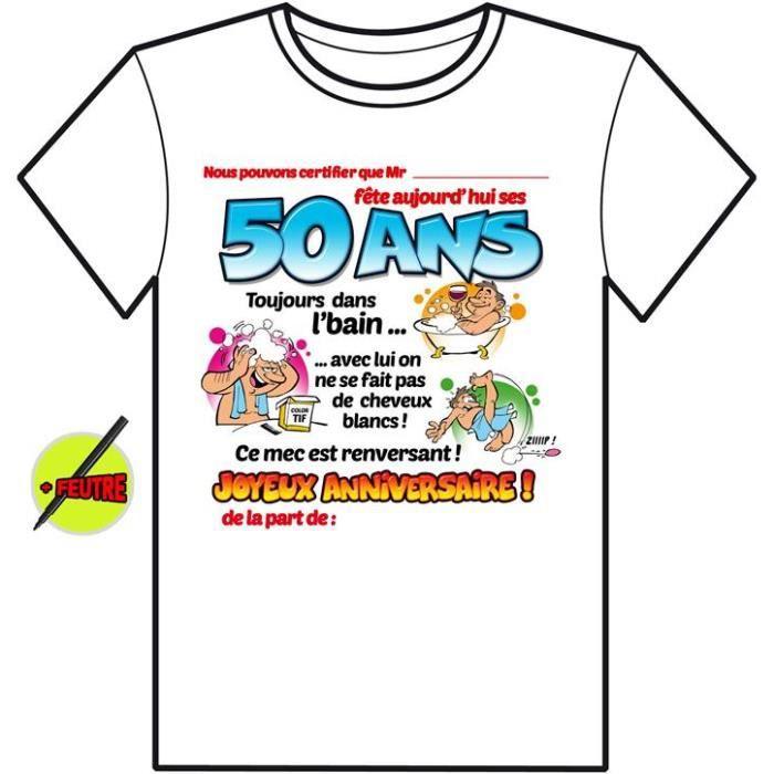T Shirt Anniversaire 50 Ans A Signer Achat Vente T Shirt 3700281637557 Soldes Sur Cdiscount Des Le 20 Janvier Cdiscount