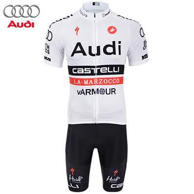 audi maillot cyclisme court cuissard blanc achat vente maillot polo de sport cdiscount. Black Bedroom Furniture Sets. Home Design Ideas