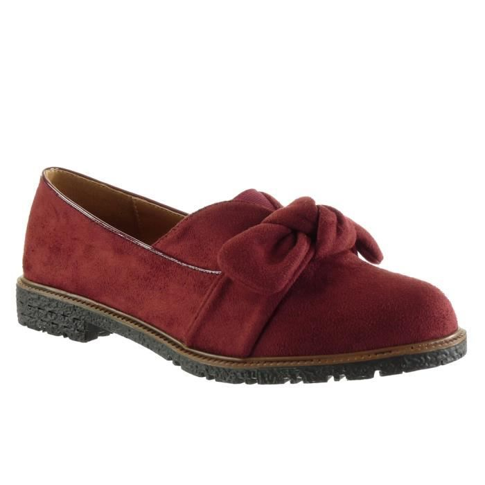 Angkorly - Chaussure Mode Mocassin slip-on femme noeud lanière Talon bloc 2 CM - Rouge - WH836 T 41