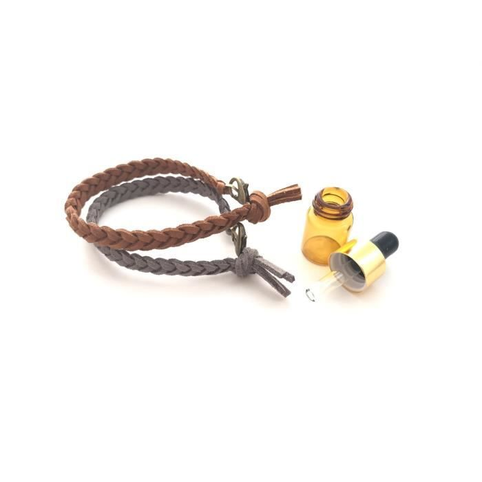 Womens Essential Oil Diffusing Bracelet - Braided 7in Cedar Brown MG4VE