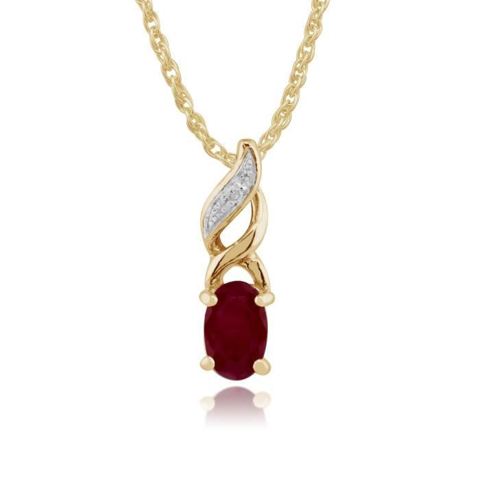 Gemondo Ensemble de bijoux Or jaune 9 ct Rubis Rouge & Diamant