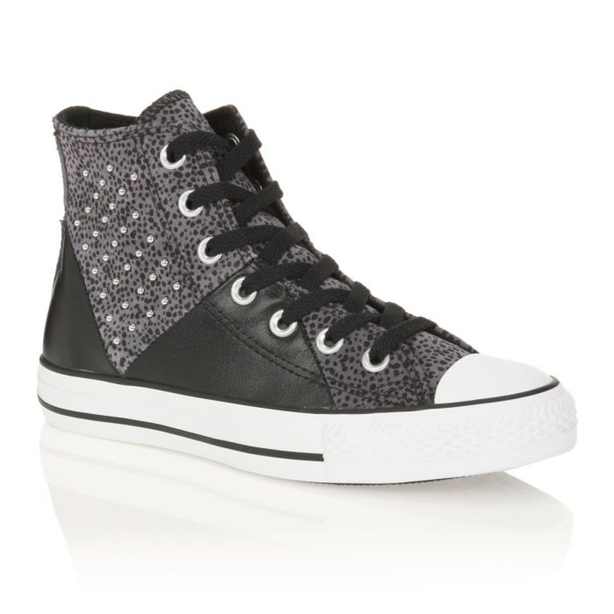 converse baskets ct multi panel cuir femme femme noir gris achat vente converse baskets ct. Black Bedroom Furniture Sets. Home Design Ideas