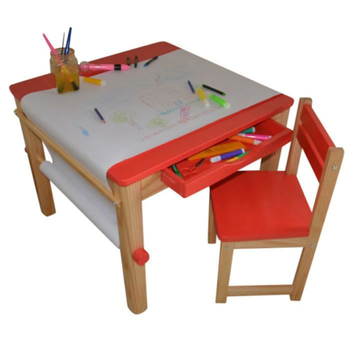 ensemble table et 1 chaise pour enfant en bois coloris rouge achat vente tour de lit b b. Black Bedroom Furniture Sets. Home Design Ideas