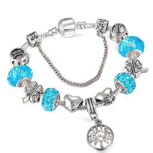BRACELET - GOURMETTE 21 cm Bracelet Style Pandora Charm Arbre de Vie Ar