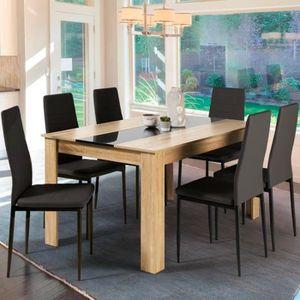 TABLE À MANGER SEULE Table à manger de 6 personnes imitation hêtre et n