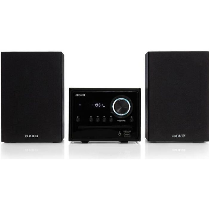 Micro Hi-Fi Aiwa MSBTU-300 noir 20W avec Bluetooth, CD, USB, radio FM, lecteur CD