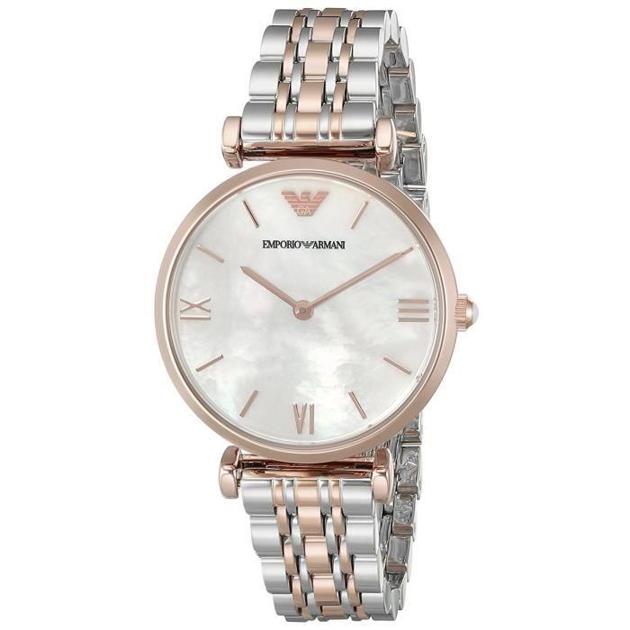 Montre Emporio Armani Femme AR1683- Quartz Analogique - Cadran Blanc - Bracelet Acier Argent