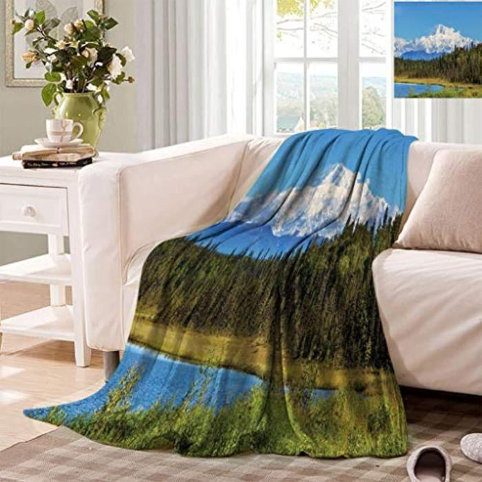 Matelas Bebe EOOOT Alaska Digital Print Blankets, Snow Covered McKinley Mountain in Spring Season with Forest Soft Fleece Blanket fo