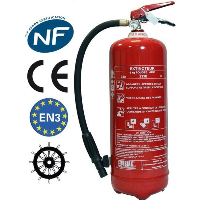 Extincteur 6 Kg poudre NF + support fixation + Panneau signalétique Ref: 005743
