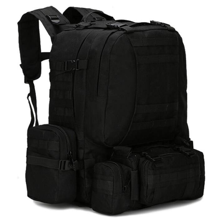 Sac à dos militaire Molle de 50l pour hommes, sac à dos de randonnée 4 en 1, étanche et tactique, accessoire de voyage [BF536DA]