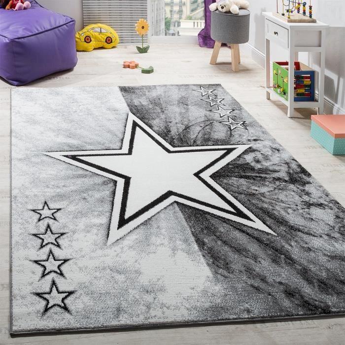 Tapis Chambre D'Enfant Étoile Design Tapis De Jeu Tapis Pour Enfants Poils Ras Gris [80x150 cm]