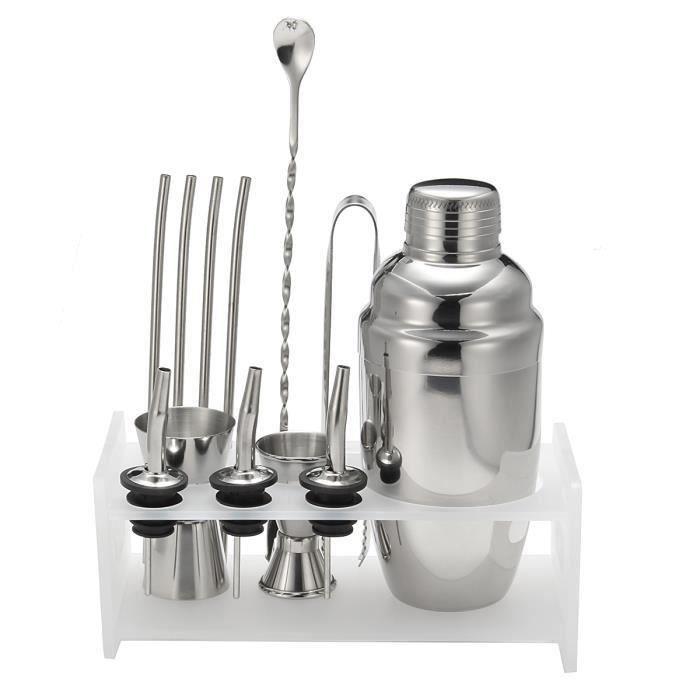 TEMPSA Set cocktail bar 12 pièces en acier inox avec shaker pince cuillère paille tasse 550ml(SANS SUPPORT) @YC