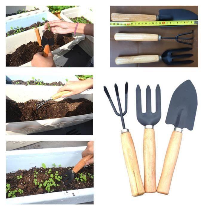 3pcs Set Pelle Râteau manche en bois tête en métal pour enfants Mini outil Outils de jardin T05383