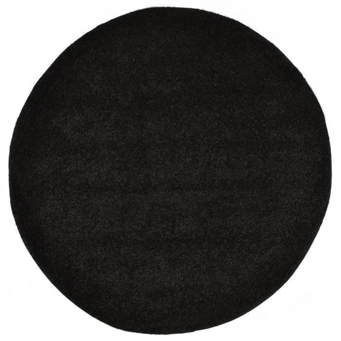 Tapis Shaggy - Tapis de sol Tapis de salon 160 cm Noir