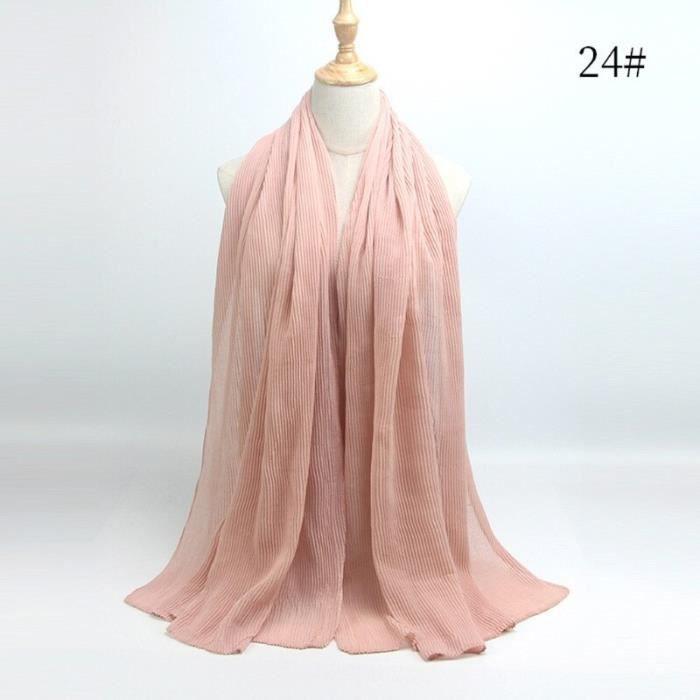 Foulard hijab en coton froissé, écharpe douce, écharpe chaude, écharpe chaude, châle, 25 couleurs, Design hiver, tendanc DY5189