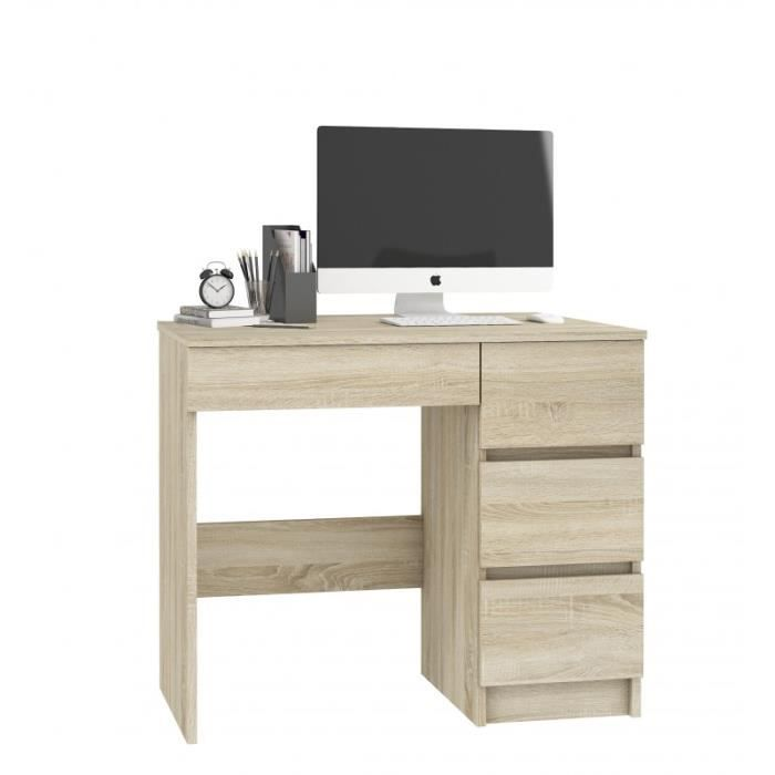 DARYA - Bureau contemporain 90x77x50 cm - 4 tiroirs - Table ordinateur multi-rangements - Design moderne & fonctionnel - Sonoma