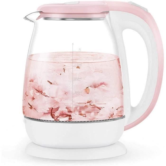 THEIERE Bouilloire Rose 1.8L verre automatique eau &eacutelectrique Bouilloire 1500W Chauffe-eau bouillante Th&eacuteiere appa202