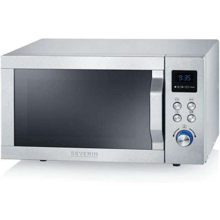SEVERIN Four Micro-ondes, Gril, Chaleur tournante 1 950W, 25L, 10 niveaux de puissance, Plaque &agrave pizza (&Oslash 28cm), Inox,