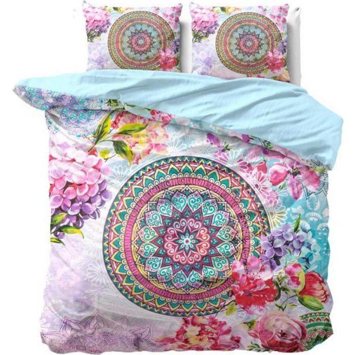 NANDO Housse de Couette 240x220+2 Taies Oreiller 60x70-100% Coton Parure de Lit Set 3pcs Mandala Oriental Fleurs Bleu Turquoise Rose