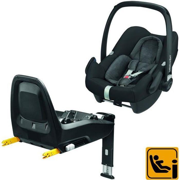 Bébé Confort Pack Siège auto Cosi Rock i-Size (45-75cm) + base FamilyFix i-Size ISOFIX ultra sécuritaire, Nomad Black