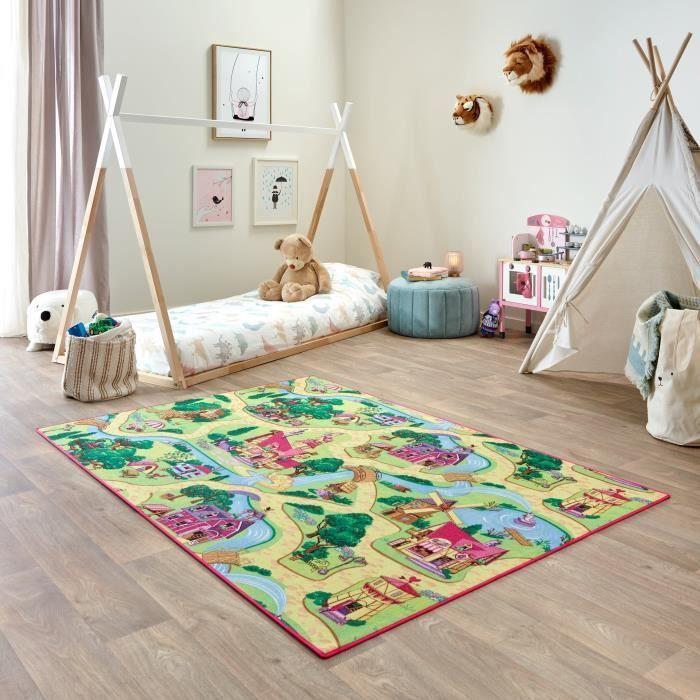Tapis de Jeu Enfant 140x200cm, Candy Town - Tapis Circuit Voiture - Lavable - Antidérapant - Carpet Studio