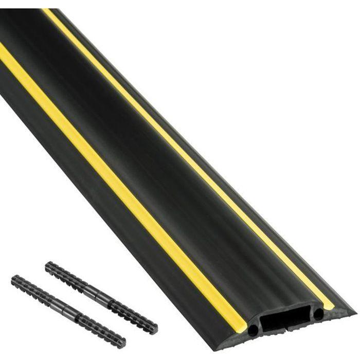 D-Line Passage Plancher Raccordable, Passe Câble Sol, FC 83H, Noir et Jaune, Cavité du Câble 30 x 10mm, Longeur 1.8m