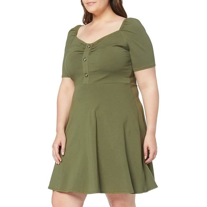 Dorothy Perkins Button Ruched Khaki Dress Robe de soirée, Vert 75, 46 (Taille Fabricant: 18) Femme - 3243307