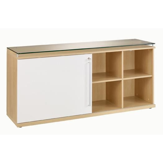 Armoire de bureau en bois et verre avec porte coulissante Longueur 160cm SLIVER-Chêne