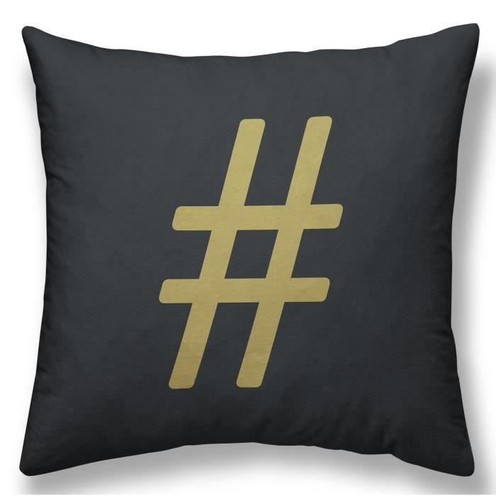 TODAY Coussin GOLD LABEL HASHTAG 30x30 cm blanc, noir et or