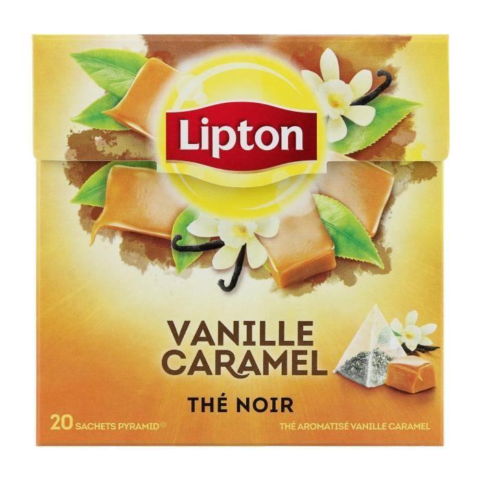 LIPTON Thé Noir Vanille Caramel - Boite de 20 sachets - 34 g