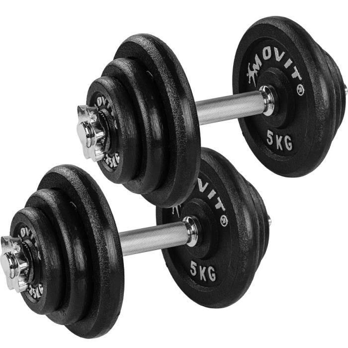 MOVIT 2x Haltères courts de 20 kg en fonte (4x5 kg + 4 x 2,5kg + 4x 1,25 kg)