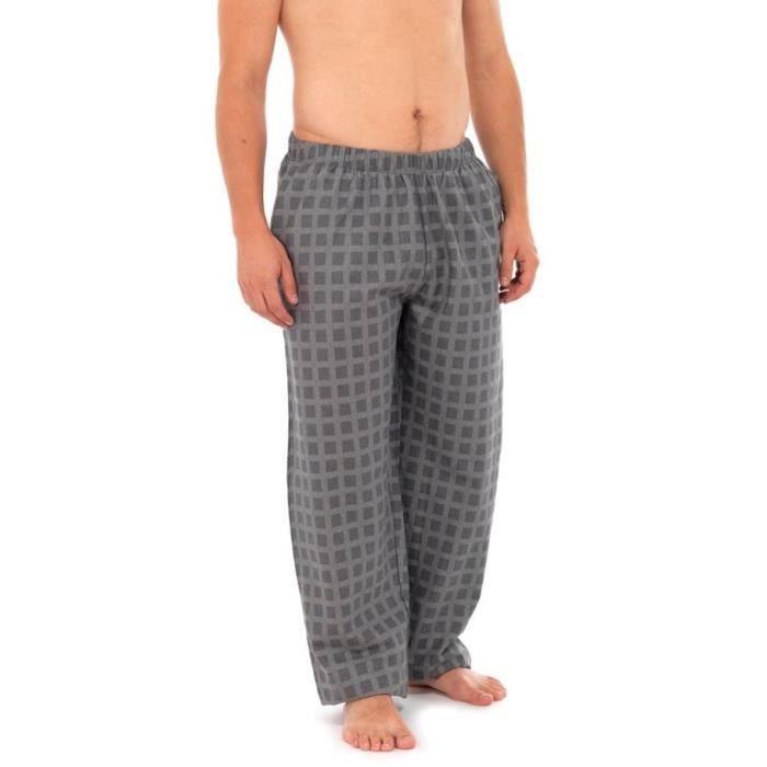 Pantalon de Pyjama Moderne à Carreux Homme Gris