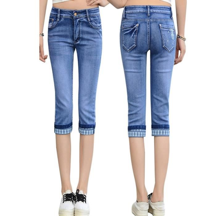 Pantacourt Femme en Jean Slim Fit Taille Haute Stretch Fashion 3-4 Pants Femme Ete