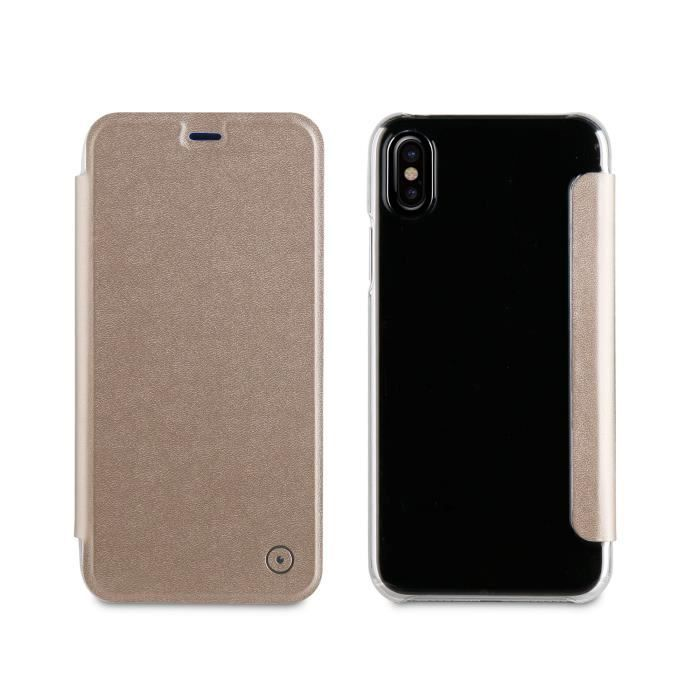 MUVIT Etui folio avec poche pour smartphone - Or - Apple Iphone X